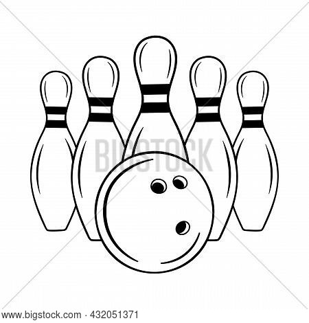 Bowling Pins With Ball Sport Icon.logo Game Template For Bowling Club, Tournaments. Vector Illustrat