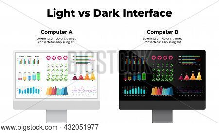 Monitor Mock Up. Light And Dark Computer Screen Interface Compare. Business Financial Charts, Graphs