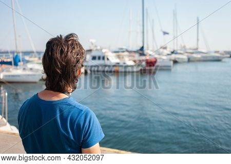 Tourist In Seaport. Yachts In The Parking Lot, Seaport In Odessa, Black Sea. Sailing, Rich Lifestyle