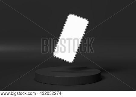 Black Presentation Podium With Phone Screen Mockup. 3d Render Illustration.