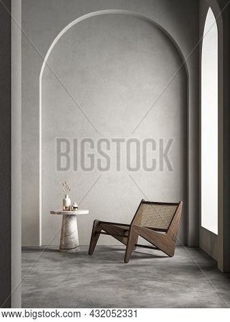 Modern Interior Composition With Arc, Armchair And Decor. 3d Render Illustration Mockup.