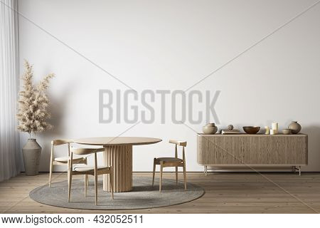 White Interior With Dining Table, Dresser And Decor. 3d Render Illustration Mockup.