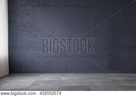 Dark Blue Empty Interior With Blank Brick Wall. 3d Render Illustration Mockup.