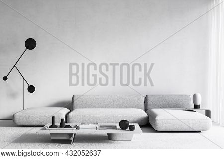 White Modern Minimalist Interior With Sofa, Coffee Table And Floor Lamp. 3d Render Illustration Mock