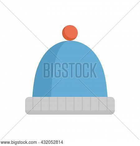 Knit Stocking Cap Or Warm Hat Vector Icon Consist Of Wool, Pompom For Head To Wear In Winter Season,