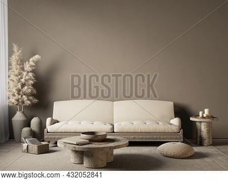 Beige Interior With Sofa And Decor. 3d Render Illustration Mockup.