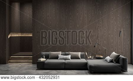 Modern Interior With Sofa And Wooden Wall Panels. 3d Render Illustration Mockup.