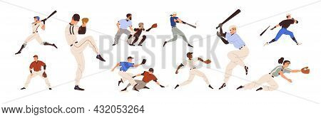 Baseball Players Set. Pitchers, Catchers, Batters And Hitters Throwing, Catching And Hitting Ball Wi