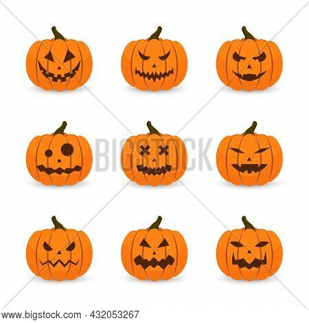 Scary Faces And Ghosts For Halloween. Scary Halloween Pumpkin Faces. Creepy And Funny Emoji Of Hallo