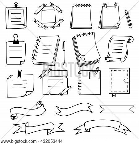 Notes, Notebooks, Ribbons In Doodle Style. Reminder Paper Sticker For Pin Notice, Text. Vector Illus