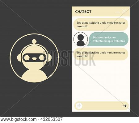 Chat Bot Window With Robot Icon. User Interface Of Application With Online Dialogue. Conversation Wi
