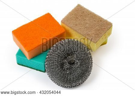 Kitchen Sponge Made Of Steel Strip And Colored Synthetic Sponges With Harder Layer On A White Backgr