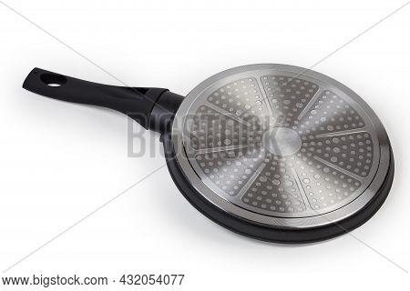 Inverted Modern Flat Shallow Frying Pan Made Of Forged Aluminum With Non-stick Coating Intended For