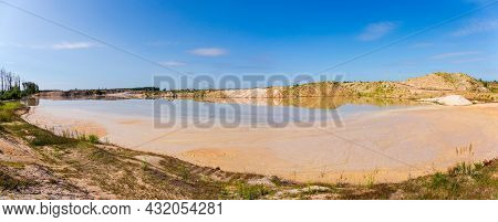 Shallow Technological Lake, Which Arose As A Result Of A Dredge Working For Ore Beneficiation In Ope