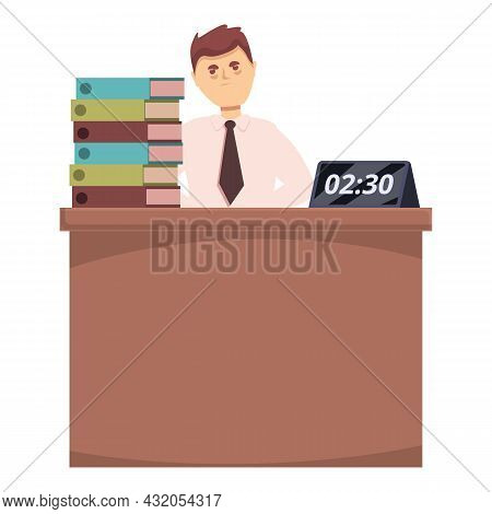 Working Overtime Icon Cartoon Vector. Office Work. Exhausted Woman