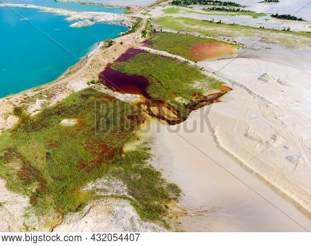 Colored Lakes And Old Waste Rock Dumps On The Site Of The Abandoned Ilmenite Quarry, Aerial View