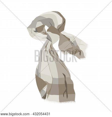 Beige Scarf Vector Illustration Isolated On White. Clothing Element Of Basic Autumn Wardrobe