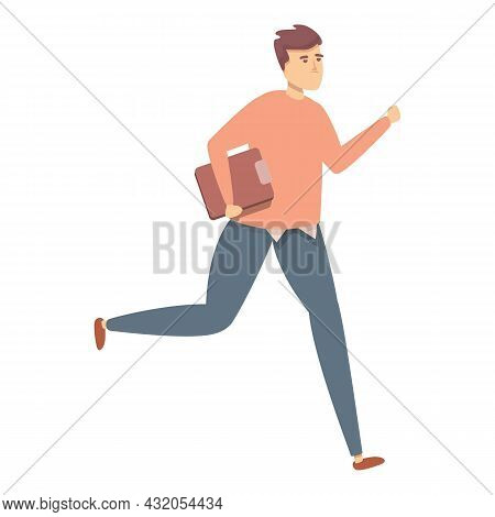 Running Clerk Icon Cartoon Vector. Late Man. Hurry Person