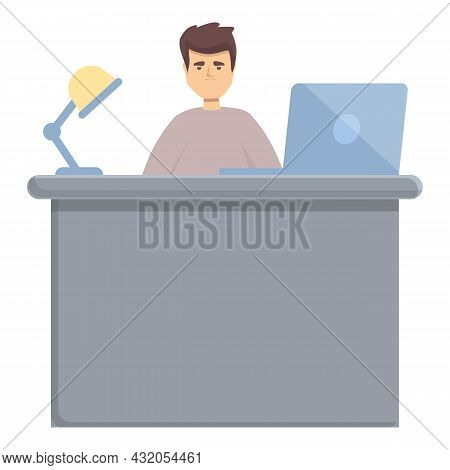 Night Worker Icon Cartoon Vector. Late Work. Job Overtime