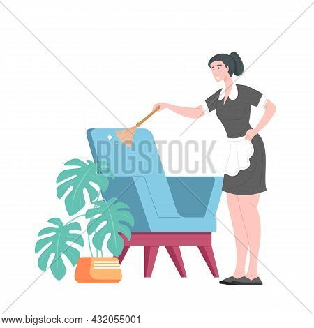 Maid Dusting Armchair With Brush, Service Professional Women Cleaner In Uniform. Professional Housew