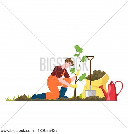 Male Gardener Plants A Sapling, There Is Shovel, Watering Can And Fertilizer Nearby. Vector Illutrat