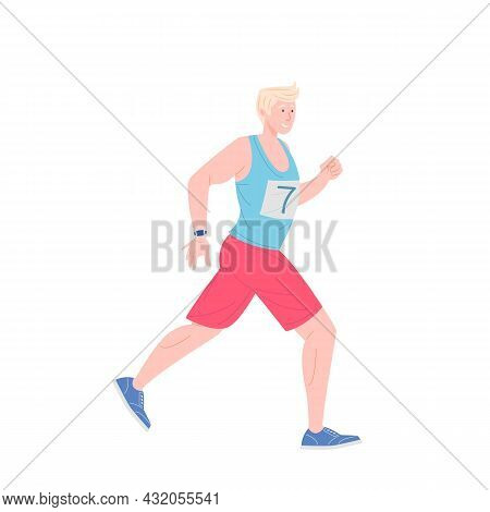 Male Runners In Stylish Sportswear On Marathon Race. Running Man Athletic. Vector Illustration In Fl