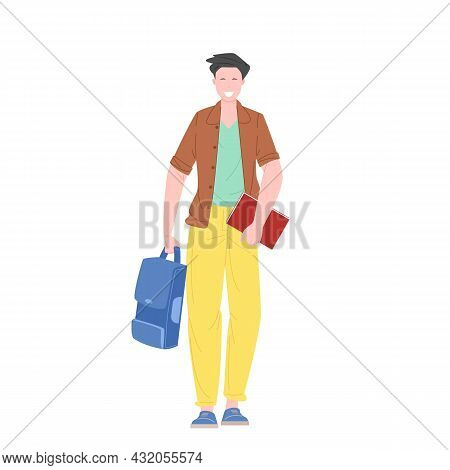 Male Student Or Schoolboy Walking Holding Books And Backpack Flat Vector Illustration.