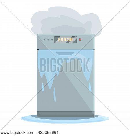 Repair Dishwasher Home Icon Cartoon Vector. Electrical Household. Broken Machine