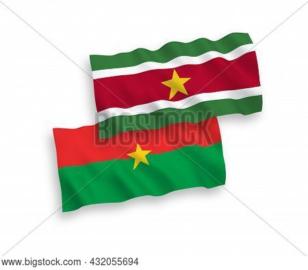 National Fabric Wave Flags Of Burkina Faso And Republic Of Suriname Isolated On White Background. 1