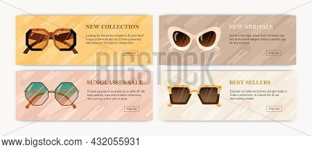 Set Of Advertising Promotion Banners With Modern Sunglasses. Designs Of Horizontal Background With T
