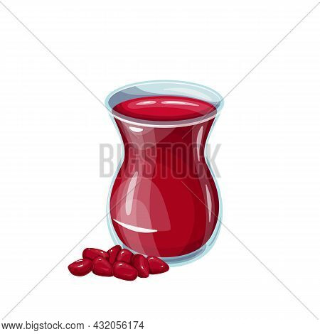 Ottoman Drink Pomegranate Sherbet In Glass. Healthy And Delicious Ramadan Drink. Turkish Fruit Drink