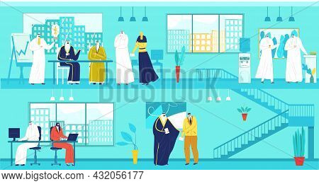 Business Office With Arab Teamwork Concept, Vector Illustration, Businessman Woman Person Character
