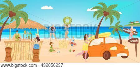 Summer Beach, Vacation At Sea, Vector Illustration, Holiday Travel Activity At Ocean Shore, Flat Man