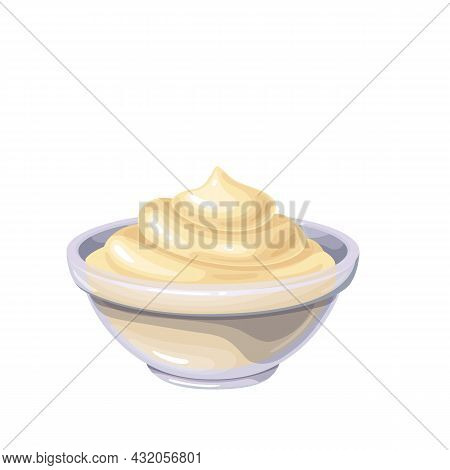 Mayonnaise Sauce In Bowl. Colored Illustration Of Mayonnaise In Cartoon Style.