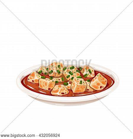 Mapo Tofu Chinese Cuisine Icon. Asian Food Vector Illustration Of Tofu Dish.