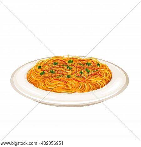 Fried Noodles Chinese Cuisine Icon. Asian Food Vector Illustration.