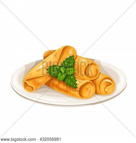 Spring Roll Chinese Cuisine Icon. Asian Food Vector Illustration.