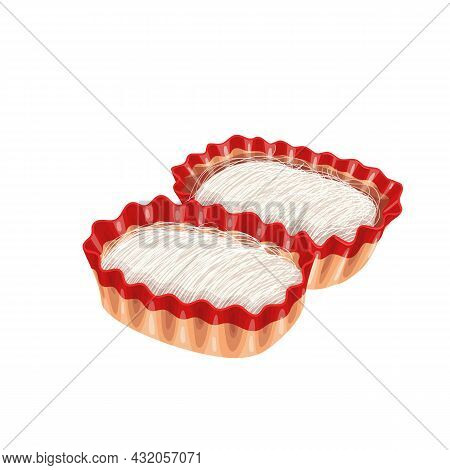 Dragons Beard Candy Chinese Cuisine Icon. Asian Traditional Sweets Vector Illustration.