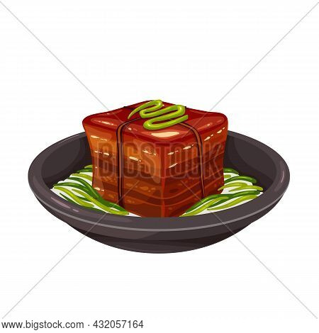 Dongpo Pork Chinese Food Dish. Dong Po Rou Pork Meat Colored Vector Illustration.