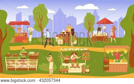 Market At Street Park, Vector Illustration, Flat People Man Woman Character Buy Food In Shop, City B