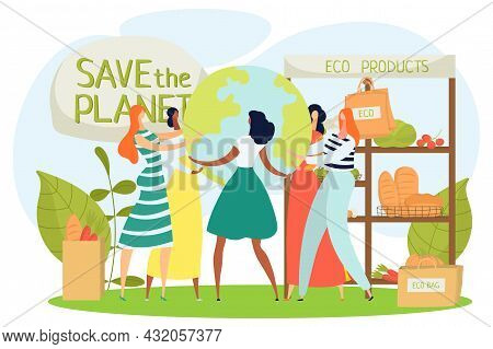 Eco Food Market, Zero Waste Grocery, Vector Illustration, Woman People Character Buy Bag, Natural Or