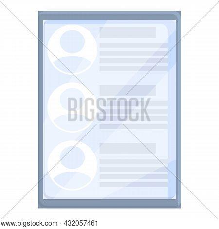 Tablet Online Recruit Icon Cartoon Vector. Human Job. Customer Recruitment