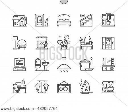 Home And Living. House, Door, Bed, Stairs, Wardrobe, Bathroom And Other. Makeup Table. Pixel Perfect