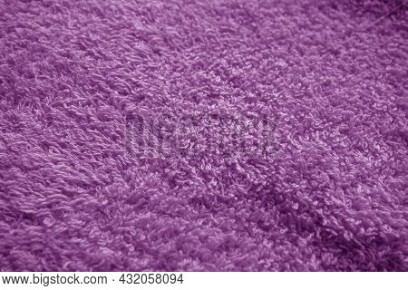 Bath Towel Texture With Blur Effect In Purple Tone. Abstract Background And Texture For Design.