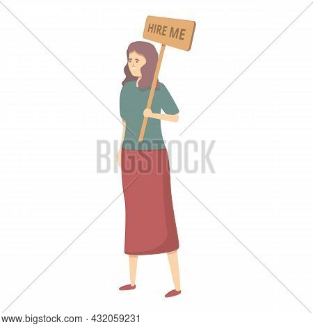 Mother Seeking Job Icon Cartoon Vector. Woman Employee. Business Work