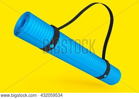 Blue Yoga Mat Or Lightweight Foam Camping Bed Roll Pad Isolated On Yellow Background. 3d Rendering O