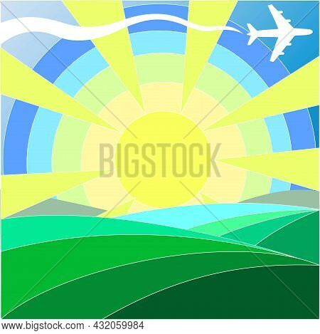 Green Hills Of Different Shades, Blue Sky, Bright Rainbow Sun With Rays, Summer Mood, Circles Of Dif