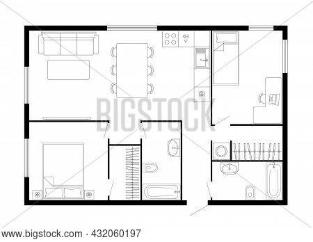 Apartment Floor Plan. Two Bedroom Apartment. Vector Architecture Plan Of Condominium, Flat, House. I