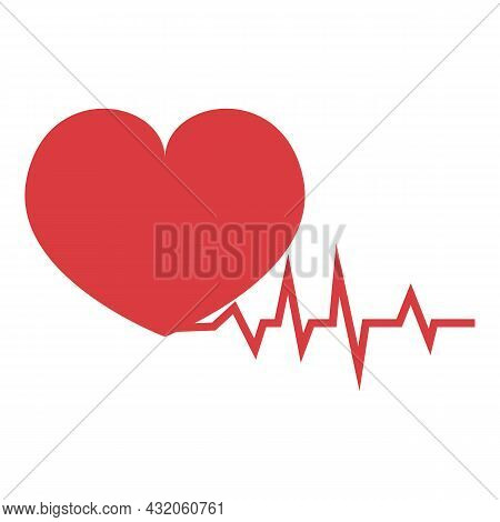 Heart Rate Icon Cartoon Vector. Pain Attack. Woman Disease