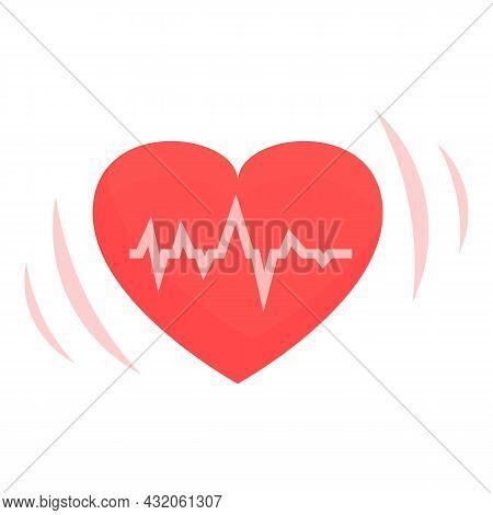 Heart Rate Icon Cartoon Vector. Heart Pain. Cardiac Disease